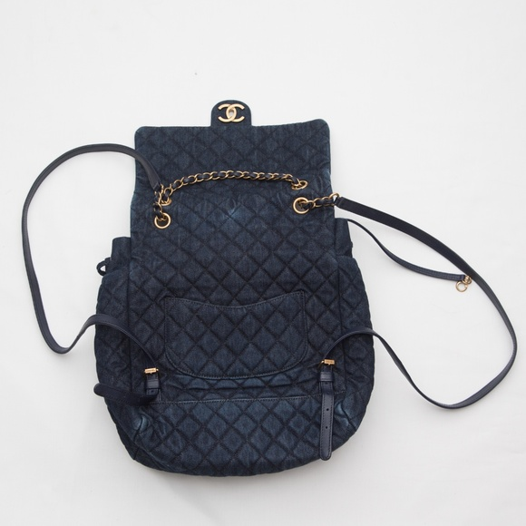 acaa5f621788ef CHANEL Bags | Matrasse Coco Denim Quilted Backpack Navy | Poshmark